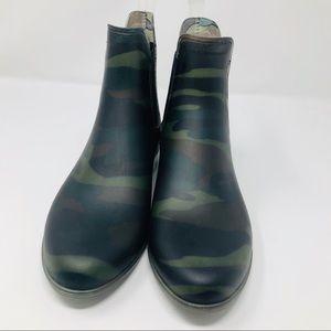 J Crew Camouflage Camo Ankle Chelsea Rain Boots 8
